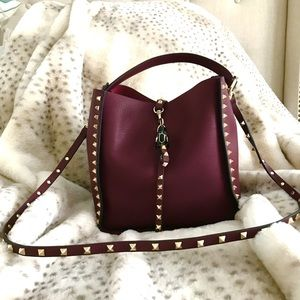 Gorgeous Leather Gold Studded Bag in Wine